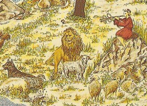 Particolare di una serigrafia israeliana contemporanea dal titolo La venuta dell'agnello (Nechama)